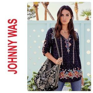 New Johnny Was Gina Blouse Embroidered Graphite